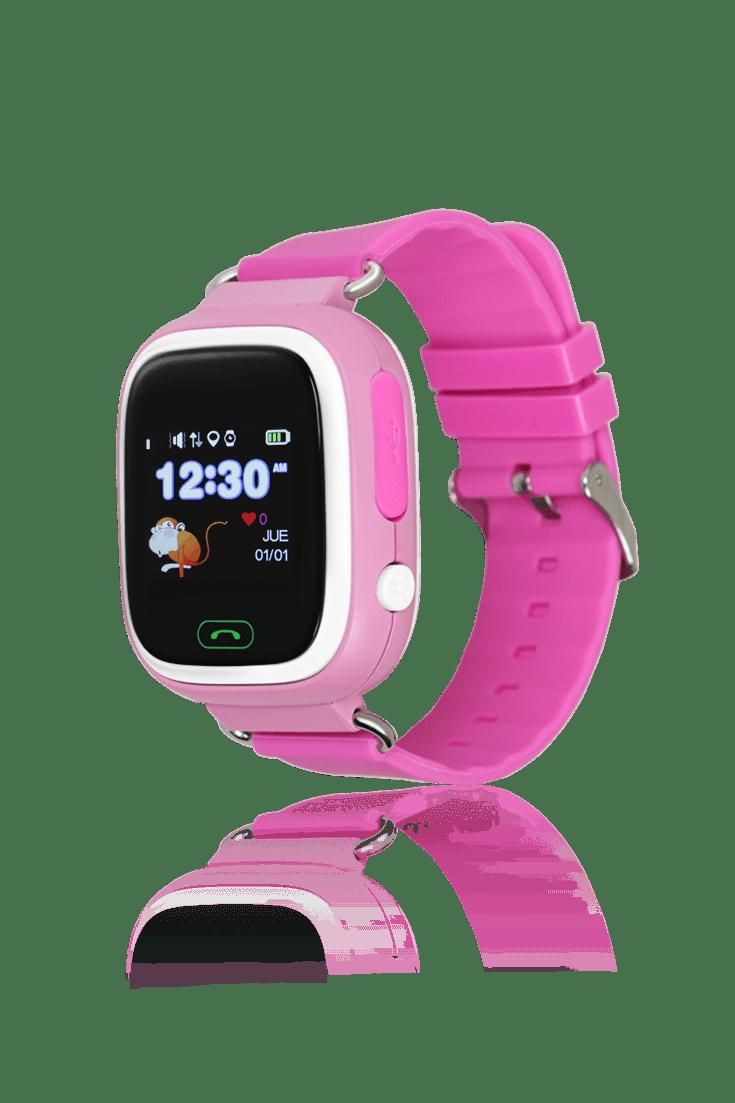 Reloj rosa para niños con GPS
